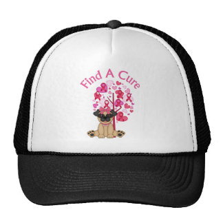Find A Cure Pug and Pink Ribbon Tree Trucker Hat