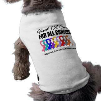 Find a Cure Ribbons For All Cancers Doggie Tshirt