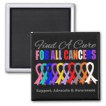 Find a Cure Ribbons For All Cancers Fridge Magnets