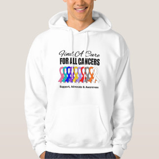 Find a Cure Ribbons For All Cancers Hoodie