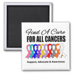 Find a Cure Ribbons For All Cancers 2 Inch Square Magnet