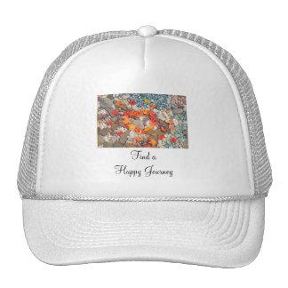 Find a Happy Journey hats Heart Leaves Rock Garden