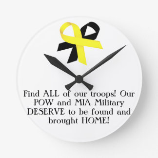 Find ALL of our troops Our POW and MIA Military Round Wall Clock