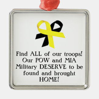 Find ALL of our troops! Our POW and MIA Military.. Christmas Tree Ornament