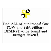 Find ALL of our troops! Our POW and MIA Military.. Postcard