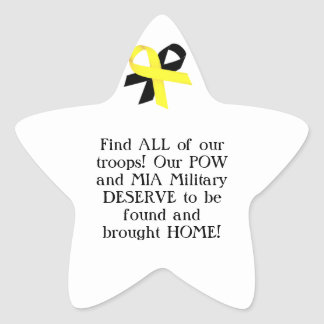 Find ALL of our troops! Our POW and MIA Military.. Star Sticker