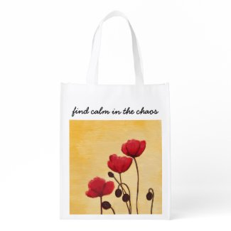 Find Calm Poppies Grocery Bag