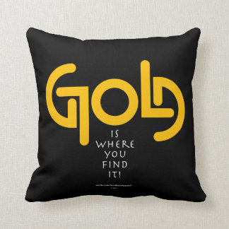 Find Gold Ambigram Throw Pillow