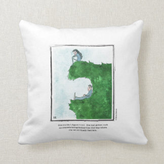 FIND HIM cartoon by Ellen Elliott Throw Pillow