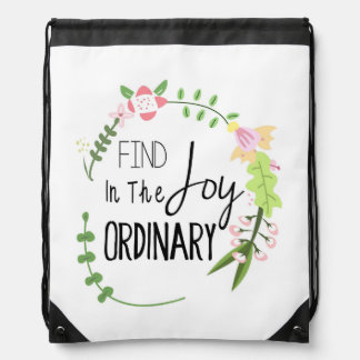 Find Joy In The Ordinary - Floral Wreath Drawstring Backpack