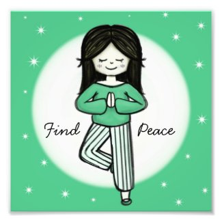Find Peace Yoga Tree Pose Wall Art