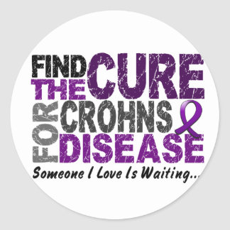 Find The Cure 1 CROHN'S DISEASE T-Shirts & Gifts Classic Round Sticker