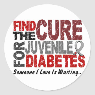 Find The Cure 1 JUVENILE DIABETES T-Shirts Gifts Round Sticker