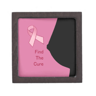 Find the Cure - Breast Cancer Awareness - Pink Rib Jewelry Box