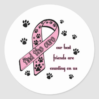Find the Cure ~ Pawprint Classic Round Sticker