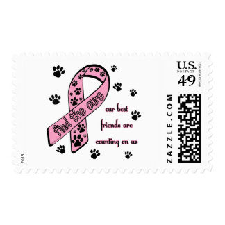 Find the Cure ~ Pawprint Postage Stamp