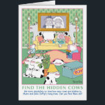 """FIND THE HIDDEN COWS Birthday Card<br><div class=""""desc"""">Many cows hide in Myra and Zeke DePig&#39;s living room. Not very effectively.</div>"""