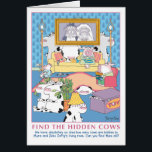 """FIND THE HIDDEN COWS CARD<br><div class=""""desc"""">Quite a number of cows hide with varying degrees of success. How many do you find?</div>"""