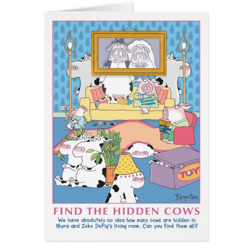 FIND THE HIDDEN COWS GREETING CARD