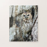 """Find The Owl Jigsaw Puzzle<br><div class=""""desc"""">This is a lovely picture of a speckled owl in a speckled tree. The owl and bark are about the same color. All owl lovers will love this. It makes a nice gift and should be fun to put together if you like challenging projects.</div>"""