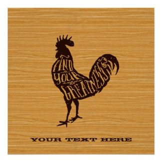Find Your Greatness Vintage Rooster Brown Wood Posters