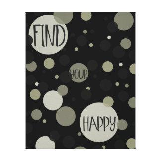 Find Your Happy Gold Black Confetti Canvas Print