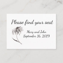 Find your seat. Rudbeckia simple wedding. Place Card