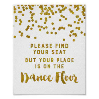 Find Your Seat Wedding Sign Gold Confetti Poster