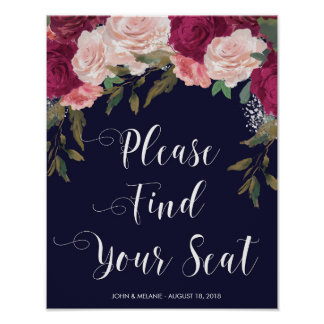 find your seat wedding sign navy pink floral