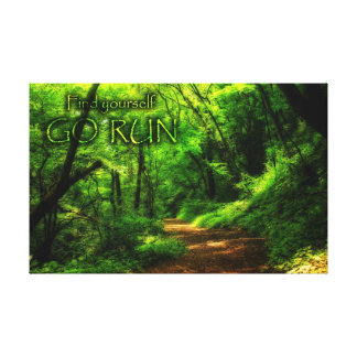 Find Yourself Go Run Magic Forest Motivational Canvas Print