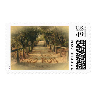 Find Yourself Go Run Park Jogger Motivational Postage Stamps