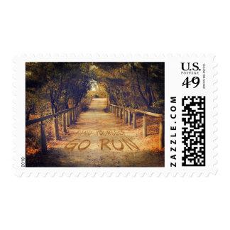 Find Yourself Go Run Park Jogger Motivational Postage Stamp