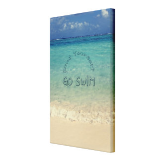 Find Yourself Go Swim Motivational Quote Tropical Canvas Print