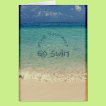 Find Yourself Go Swim Motivational Quote Tropical Card