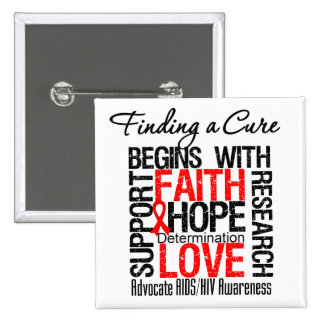 Finding a Cure For AIDS HIV Pinback Buttons