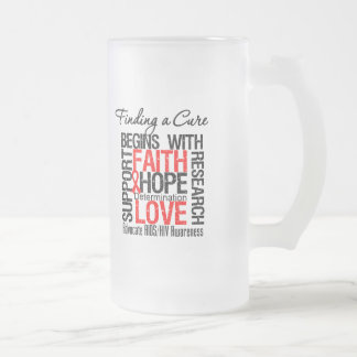 Finding a Cure For AIDS HIV 16 Oz Frosted Glass Beer Mug