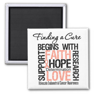 Finding a Cure For Endometrial Cancer 2 Inch Square Magnet