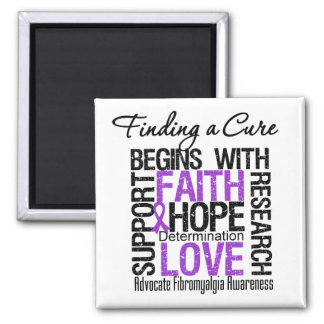 Finding a Cure For Fibromyalgia 2 Inch Square Magnet