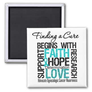 Finding a Cure For Gynecologic Cancer 2 Inch Square Magnet