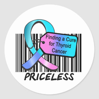 Finding a Cure For Thyroid Cancer PRICELESS Classic Round Sticker