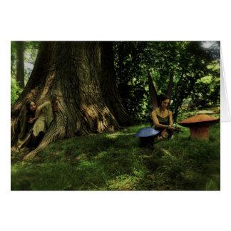 Finding a Fairy, Fantasy Art Greeting Card (Blank)
