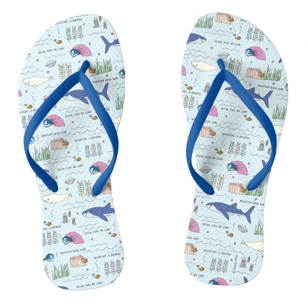 Finding Dory Blue Cartoon Pattern Flip Flops