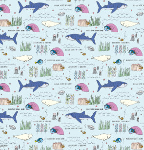 Finding Dory Blue Cartoon Pattern Shower Curtain