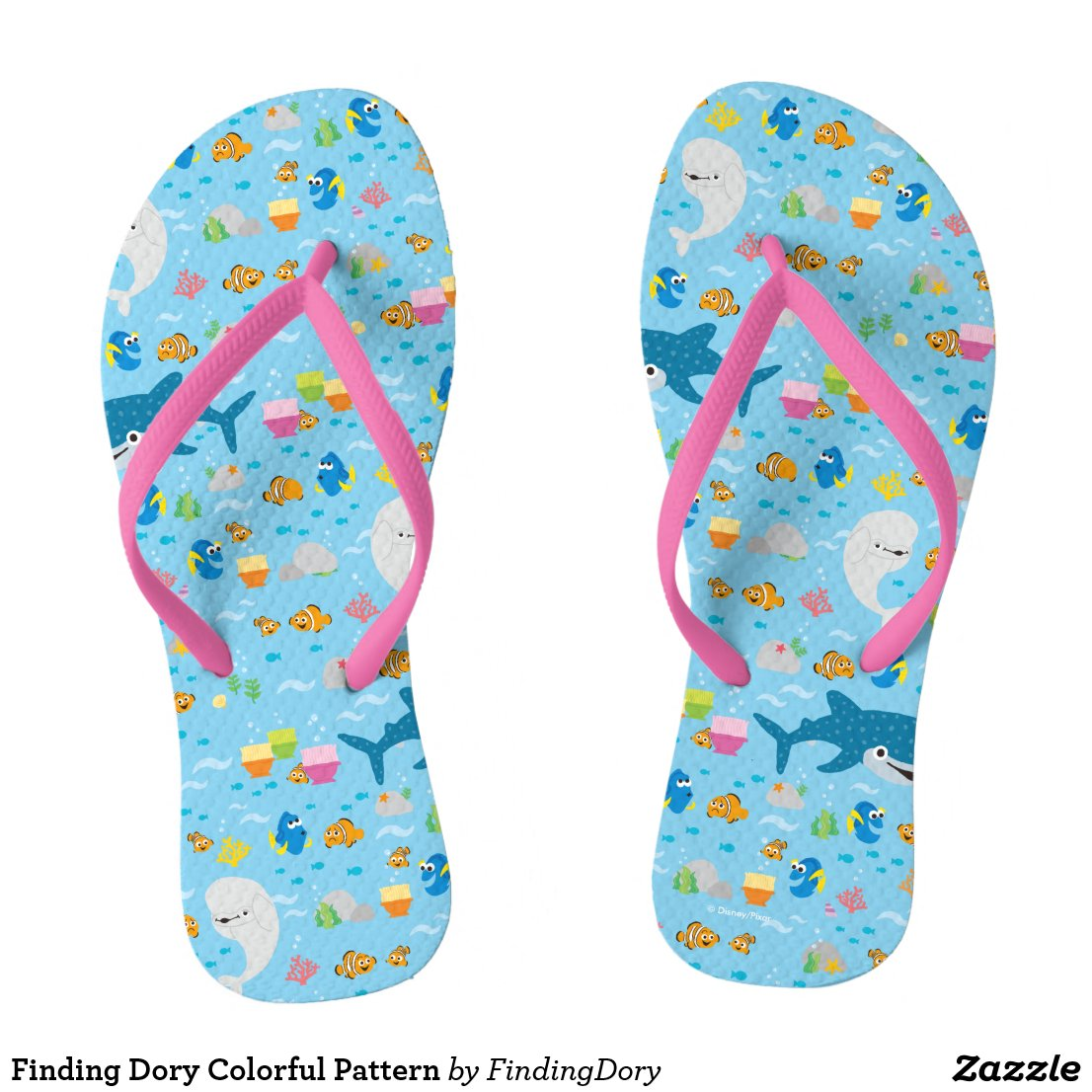 Finding Dory Colorful Pattern Flip Flops