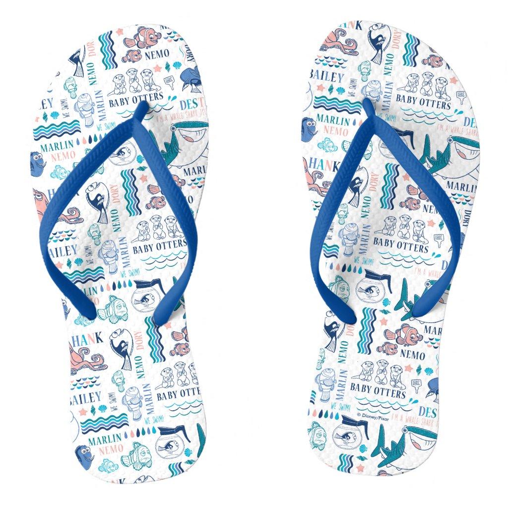 Finding Dory Pastel Pattern Flip Flops