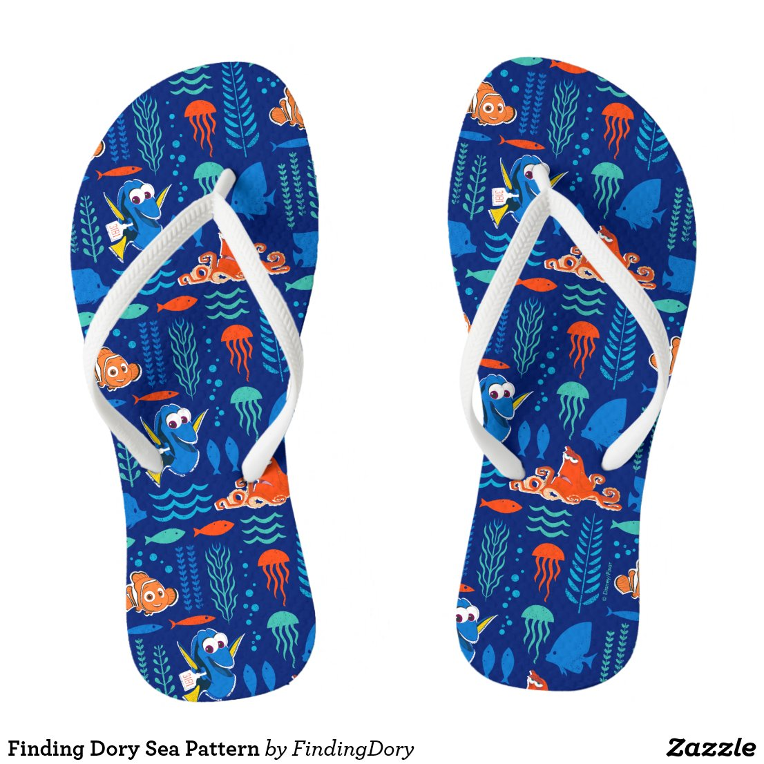 Finding Dory Sea Pattern Flip Flops