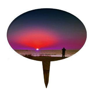 Finding Harmony in Balance Beach Sunrise Meditatio Cake Topper