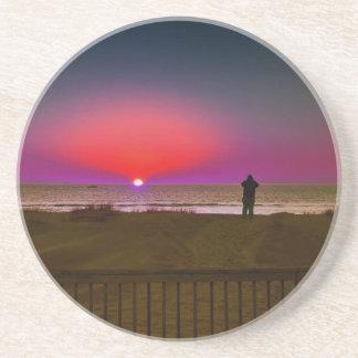 Finding Harmony in Balance Beach Sunrise Meditatio Drink Coaster