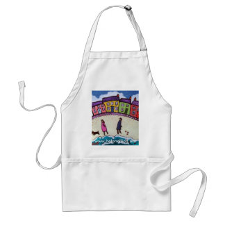 finding love on the beach by Helen Elliott Adult Apron