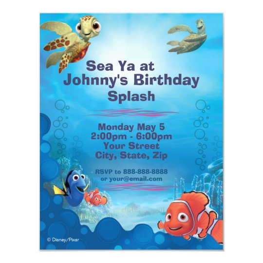 finding nemo birthday invitation  zazzle, Birthday invitations